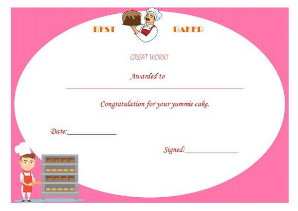 Best baker certificate