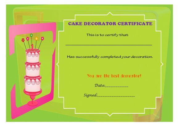 Best cake decorater certificate