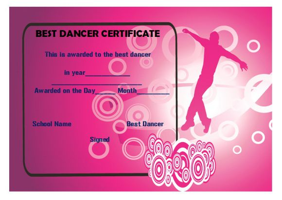 Best dancer certificate