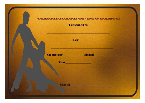 Best duo dance certificate
