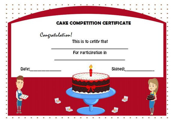 Cake competition certificate