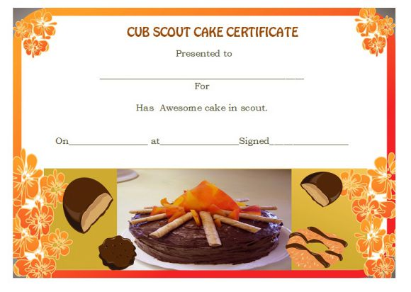 Cub scout cake certificate