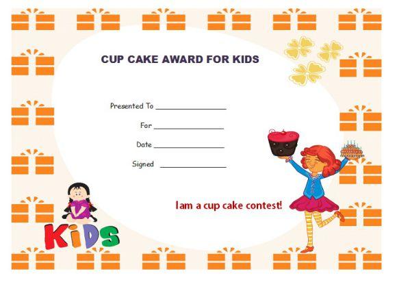 Cup cake contest award kids