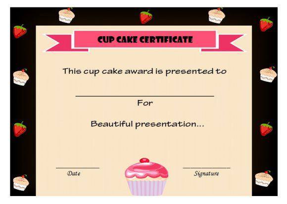 Cup cake certificate