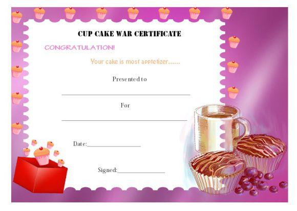 Cup cake war certificate