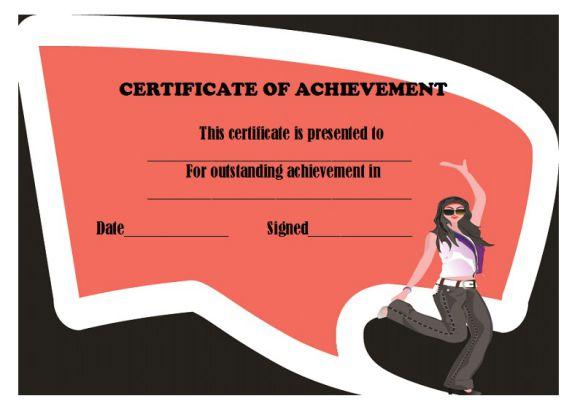 Dance achievement certificate