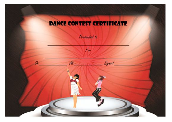 Dance contest certificate