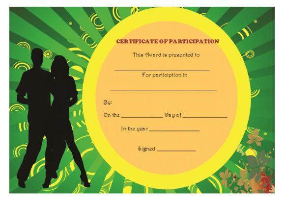 Dance participate certificate