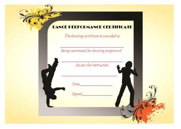 Dance performance certificate