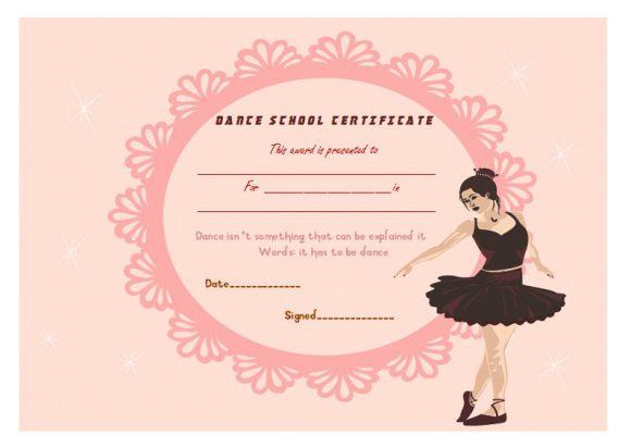 Dance school certificate