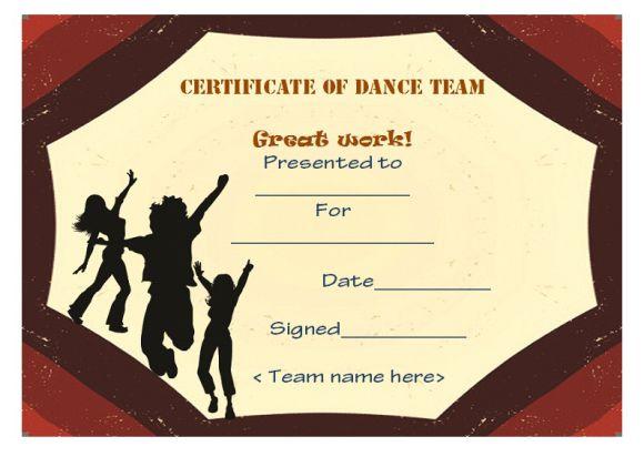 Dance team certificate
