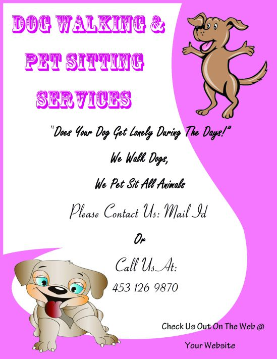 Dog walking and pet sitting flyer
