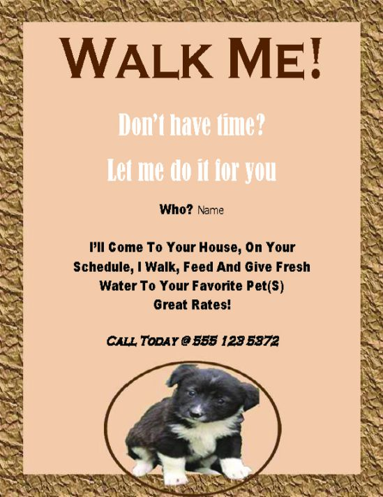 Dog walking -walk me flyer