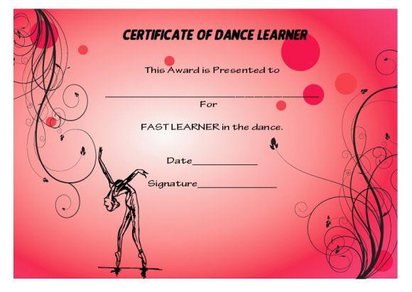 Fast learner dance award