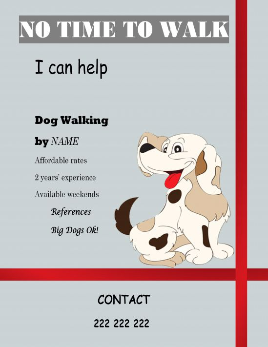25 dog walking flyers for small dog sitting businesses for Dog walking flyer template free