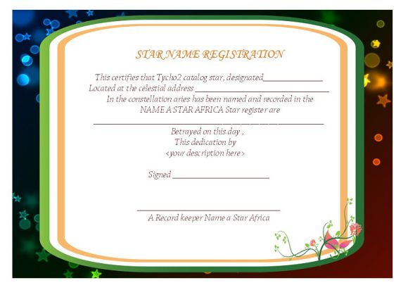 Star Naming Certificate Templates 15 Free Official Looking