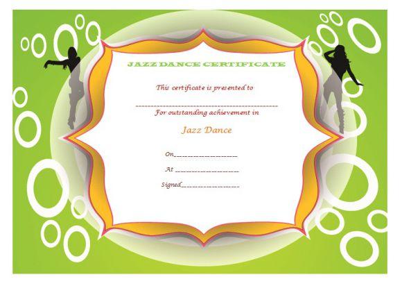 Jazz dance certificate