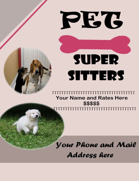 Pet super sitters flyer