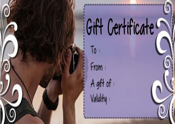 Photography session Gift Certificate Template