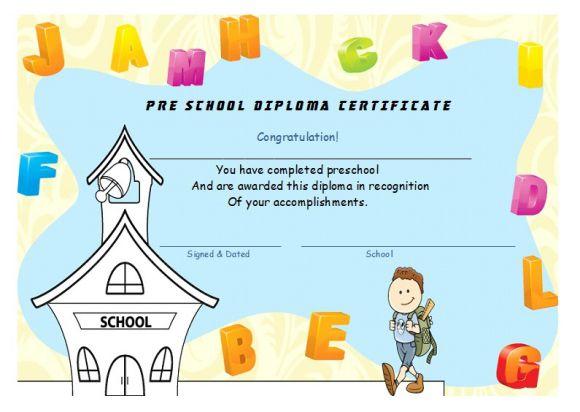 Pre school diploma certificate