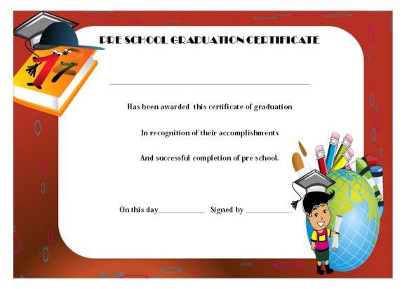 Pre school graduation certificate