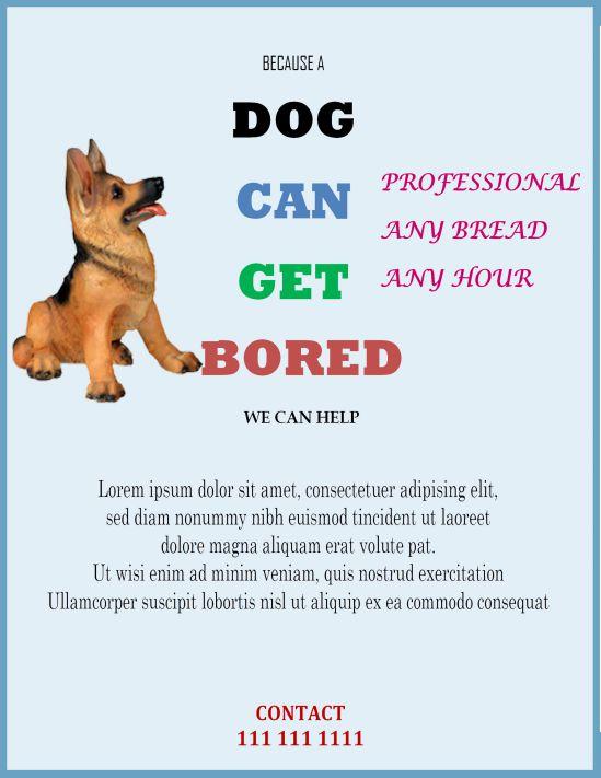Professional dog sitting flyer