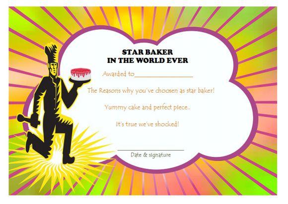 Star baker certificate