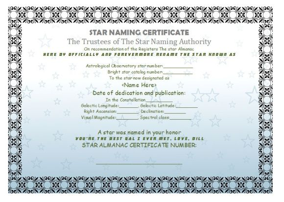 A beautiful, personalized Star Name certificate with gold foil hand embossed seal in an elegant university grade padded silk-lined, diploma style holder.