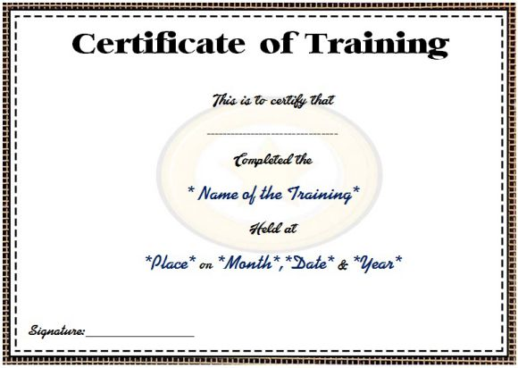 Training course attendance certificate template