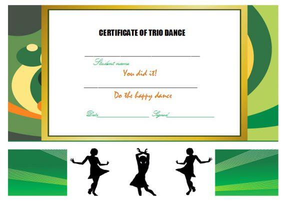 Trio dance certificate