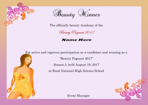 14 free pageant certificate templates for your next contest download now demplates