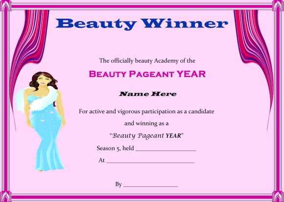 14 free pageant certificate templates for your next contest download now demplates. Black Bedroom Furniture Sets. Home Design Ideas