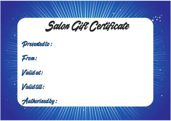 Beauty salon gift certificate templates
