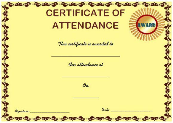 Blank certificate of attendance