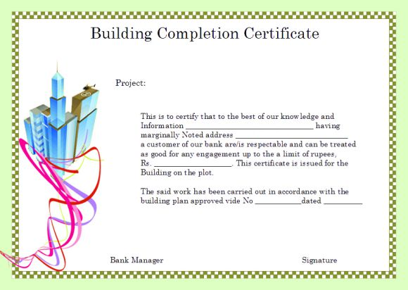 Building Completion Certificate Format By Bank