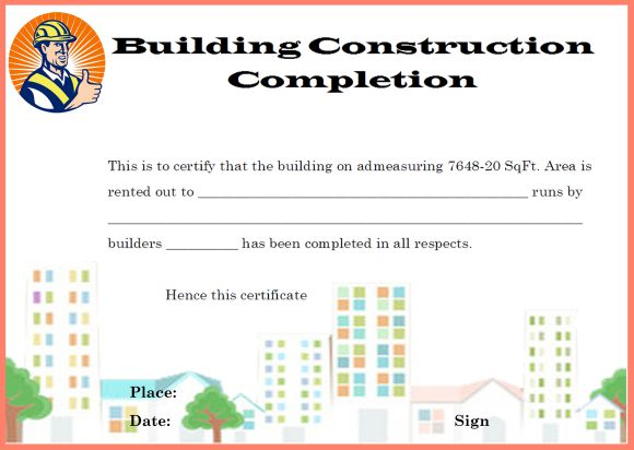 Building Construction Completion Certificate