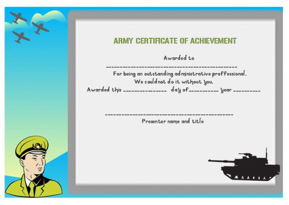 Certificate of achievement template 32 word templates skillful certificate of achievement army yelopaper Choice Image