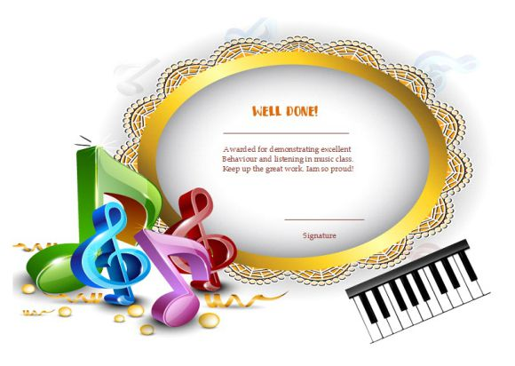 Certificate of Achievement Piano