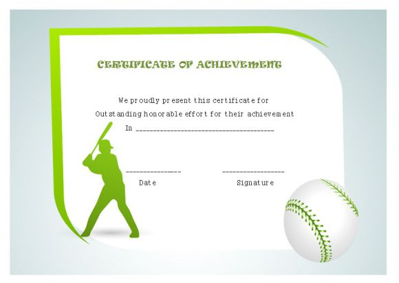 Certificate of Baseball Achievement