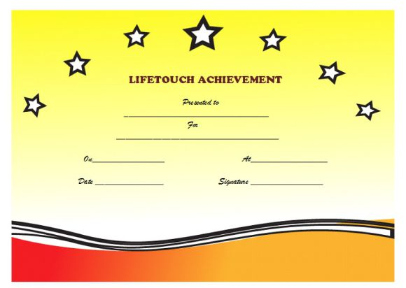 Certificate of Life touch Achievement