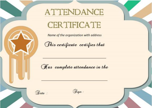 21 best certificate of attendance templates for your events demplates editable certificate of attendance templates yadclub Choice Image