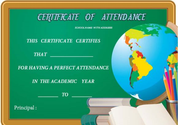 Certificate Of Attendance High School Template