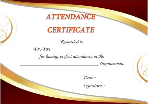 Certificate Of Attendance Letter Template