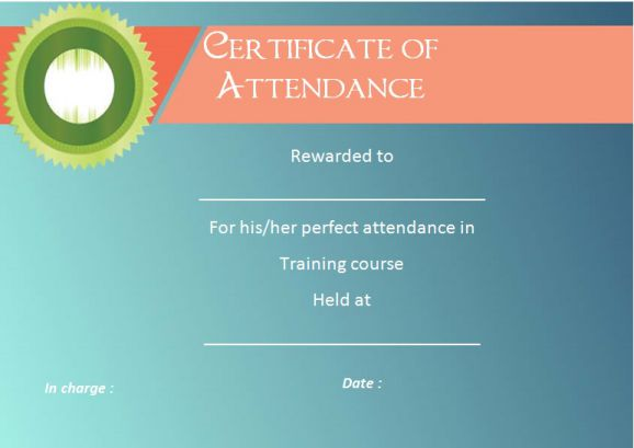 Certificate Of Attendance Template For Training