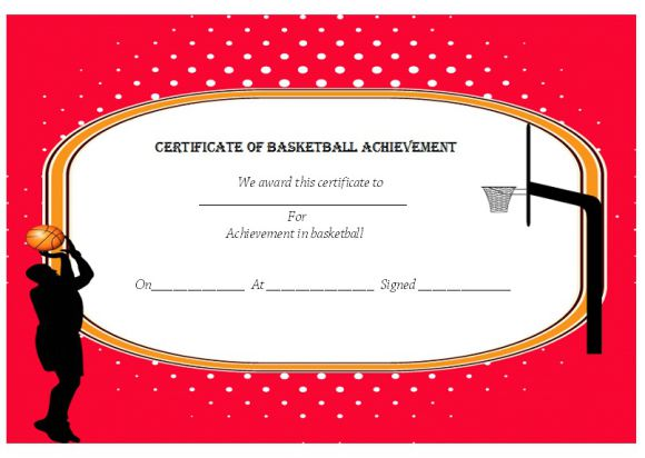 Certificate of basketball achievement