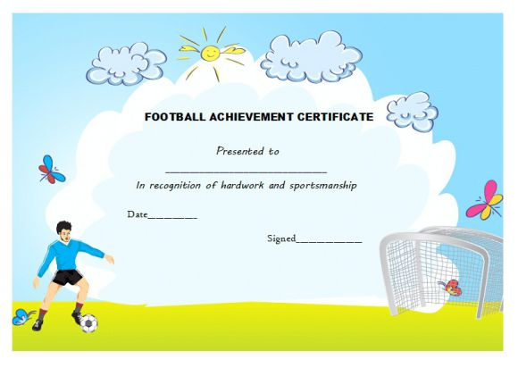 certificate of football achievement