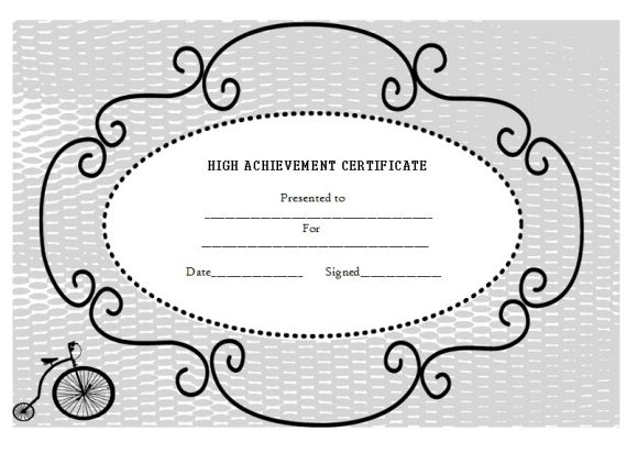 Certificate of High Achievement