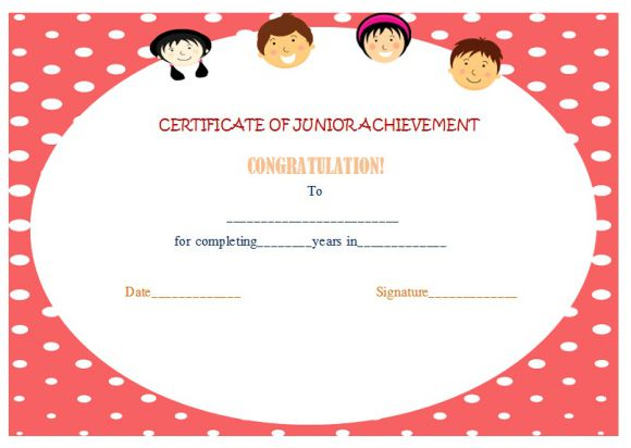 certificate of junior achievement