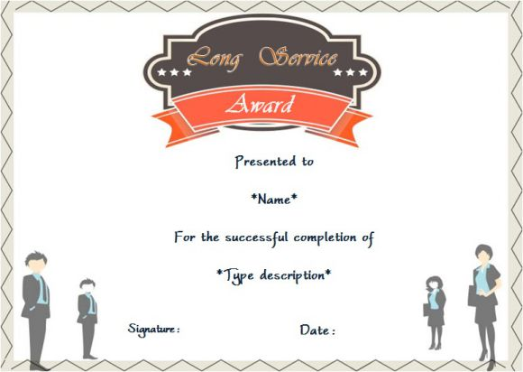 certificate of long service award template