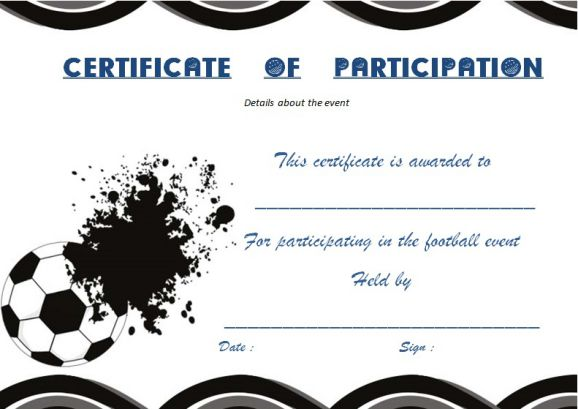 Certificate Of Participation Template Football